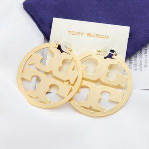 TORY BURCH Gold Miller hoop Statement earrings